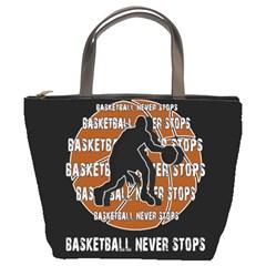 Basketball Never Stops Bucket Bags by Valentinaart