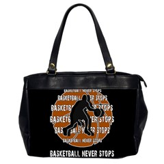 Basketball Never Stops Office Handbags (2 Sides)  by Valentinaart