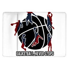 Basketball Never Stops Samsung Galaxy Tab 10 1  P7500 Flip Case by Valentinaart
