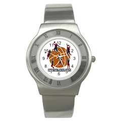Basketball Never Stops Stainless Steel Watch by Valentinaart
