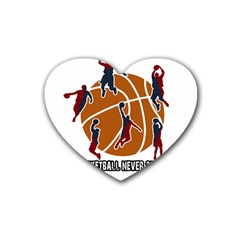 Basketball Never Stops Heart Coaster (4 Pack)  by Valentinaart