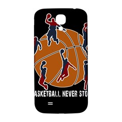 Basketball Never Stops Samsung Galaxy S4 I9500/i9505  Hardshell Back Case by Valentinaart