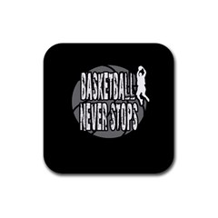 Basketball Never Stops Rubber Coaster (square)  by Valentinaart