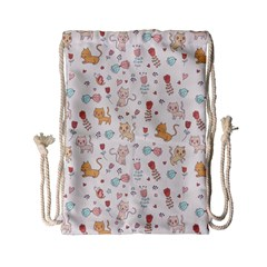 Kittens And Birds And Floral  Patterns Drawstring Bag (small) by TastefulDesigns
