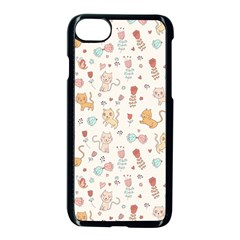 Kittens And Birds And Floral  Patterns Apple Iphone 7 Seamless Case (black) by TastefulDesigns