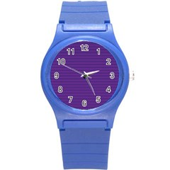 Decorative Lines Pattern Round Plastic Sport Watch (s) by Valentinaart