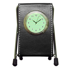 Decorative Lines Pattern Pen Holder Desk Clocks by Valentinaart