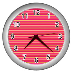 Decorative Lines Pattern Wall Clocks (silver)  by Valentinaart