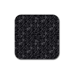Linear Abstract Black And White Rubber Square Coaster (4 Pack)  by dflcprints