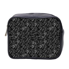 Linear Abstract Black And White Mini Toiletries Bag 2 Side by dflcprints