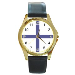 Greek Cross  Round Gold Metal Watch by abbeyz71