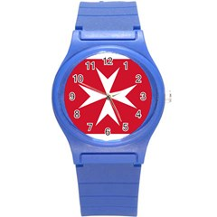 Civil Ensign Of Malta Round Plastic Sport Watch (s) by abbeyz71
