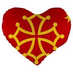 Flag Of Occitaniah Large 19  Premium Heart Shape Cushions by abbeyz71