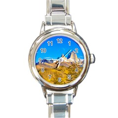 Snowy Andes Mountains, El Chalten, Argentina Round Italian Charm Watch by dflcprints