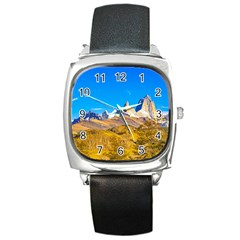 Snowy Andes Mountains, El Chalten, Argentina Square Metal Watch by dflcprints