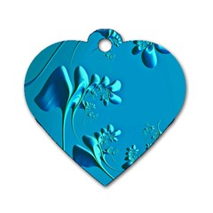 Amazing Floral Fractal A Dog Tag Heart (one Side) by Fractalworld