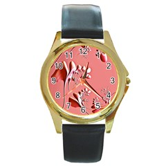 Amazing Floral Fractal B Round Gold Metal Watch by Fractalworld