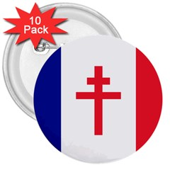 Flag Of Free France (1940 1944) 3  Buttons (10 Pack)  by abbeyz71