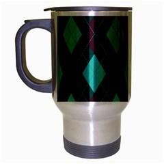 Plaid Pattern Travel Mug (silver Gray) by Valentinaart