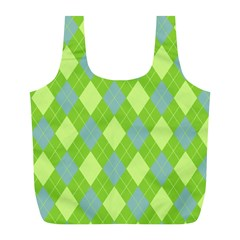 Plaid Pattern Full Print Recycle Bags (l)  by Valentinaart