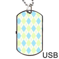 Plaid Pattern Dog Tag Usb Flash (two Sides) by Valentinaart
