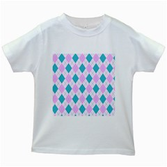 Plaid Pattern Kids White T Shirts by Valentinaart
