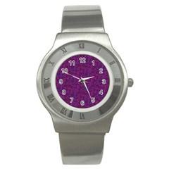 Plaid Pattern Stainless Steel Watch by Valentinaart