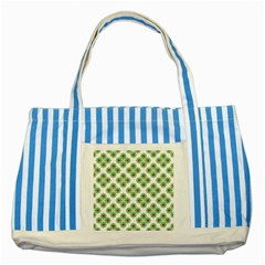 Floral Collage Pattern Striped Blue Tote Bag by dflcprints
