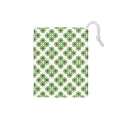 Floral Collage Pattern Drawstring Pouches (small)  by dflcprints