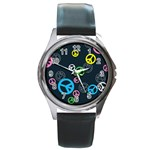 Peace & Love Pattern Round Metal Watch