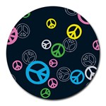 Peace & Love Pattern Round Mousepads