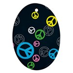 Peace & Love Pattern Ornament (Oval)