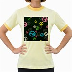 Peace & Love Pattern Women s Fitted Ringer T-Shirts