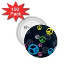 Peace & Love Pattern 1.75  Buttons (100 pack)