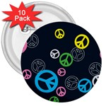 Peace & Love Pattern 3  Buttons (10 pack)