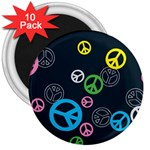 Peace & Love Pattern 3  Magnets (10 pack)