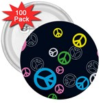Peace & Love Pattern 3  Buttons (100 pack)