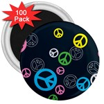 Peace & Love Pattern 3  Magnets (100 pack)
