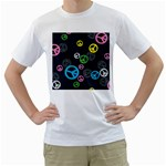 Peace & Love Pattern Men s T-Shirt (White) (Two Sided)