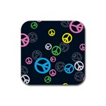 Peace & Love Pattern Rubber Square Coaster (4 pack)