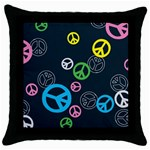 Peace & Love Pattern Throw Pillow Case (Black)