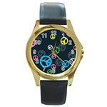 Peace & Love Pattern Round Gold Metal Watch