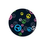 Peace & Love Pattern Rubber Coaster (Round)