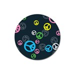 Peace & Love Pattern Magnet 3  (Round)