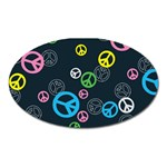 Peace & Love Pattern Oval Magnet