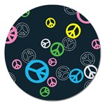 Peace & Love Pattern Magnet 5  (Round)