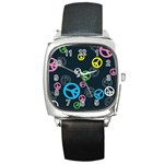 Peace & Love Pattern Square Metal Watch