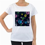 Peace & Love Pattern Women s Loose-Fit T-Shirt (White)