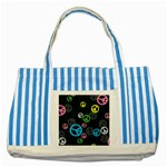 Peace & Love Pattern Striped Blue Tote Bag