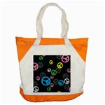 Peace & Love Pattern Accent Tote Bag